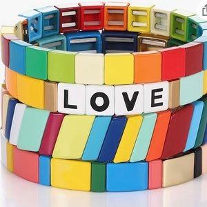 "Rainbow Tile ""Love"" Bracelets"
